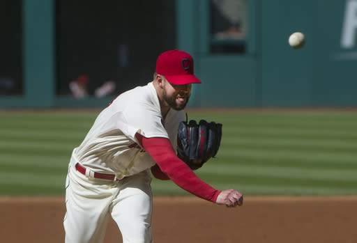 Cleveland Indians pitcher Corey Kluber delivers to Toronto Blue Jays' batter Jose Bautista during the first inning of a baseball game in Cleveland, Saturday, May 2, 2015. (AP Photo/Phil Long)