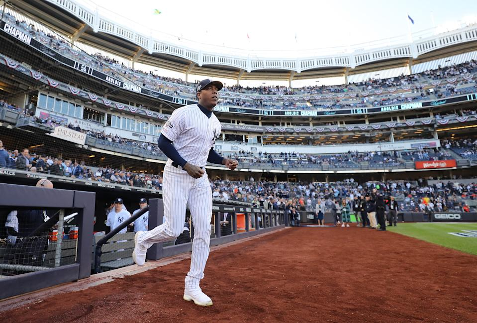 NEW YORK, NEW YORK - OCTOBER 15: Aroldis Chapman #54 of the New York Yankees takes the field as he is introduced prior to game three of the American League Championship Series against the Houston Astros at Yankee Stadium on October 15, 2019 in New York City. (Photo by Elsa/Getty Images)