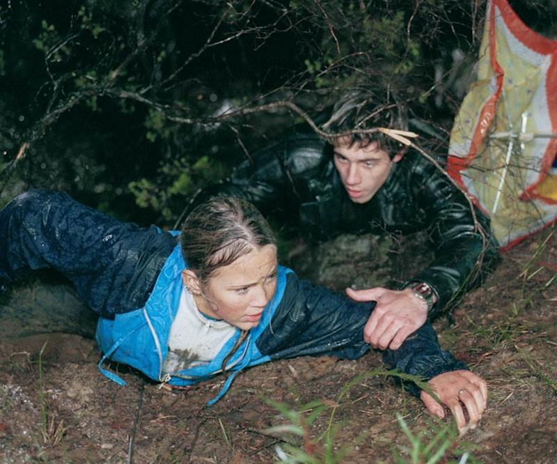 Former stars Bec Hewitt (Hayley Smith) and Beau Brady (Noah Lawson) scramble out of a mudslide. Photo: Channel 7.