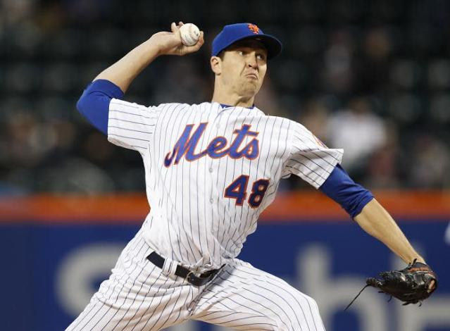 Mets pitcher Jacob deGrom could be sidelined after suffering a hyperextended pitching elbow. (AP)
