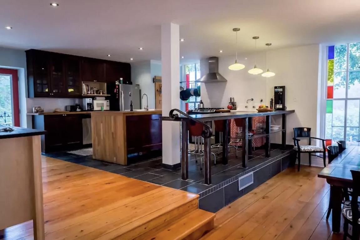 <p>The home boasts a modern kitchen. </p>