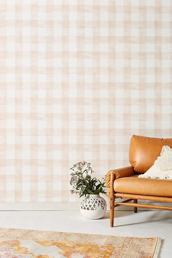 "<a href=""https://www.anthropologie.com/shop/gingham-wallpaper?category=new-home&color=066"" target=""_blank"">Get it here</a> from Anthropologie."