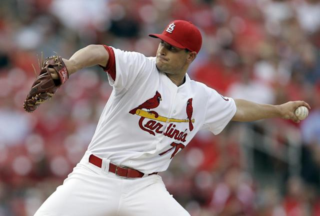 St. Louis Cardinals starting pitcher Tyler Lyons throws during the second inning of a baseball game against the Cincinnati Reds Monday, Aug. 26, 2013, in St. Louis. (AP Photo/Jeff Roberson)
