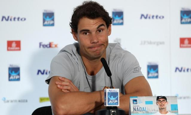 """<span class=""""element-image__caption"""">Rafael Nadal raises an eyebrow as he is asked about the knee injury he sustained in Paris: 'I don't have to make a decision [yet]...I can't predict what might happen.'</span> <span class=""""element-image__credit"""">Photograph: Julian Finney/Getty Images</span>"""