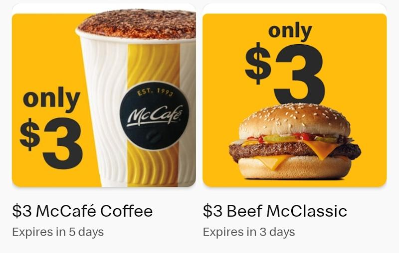The two McDonald's deals in the My Rewards section of the app.