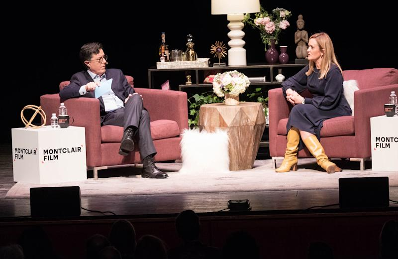 Stephen Colbert and Samantha Bee onstage at Montclair Film Festival fundraiser