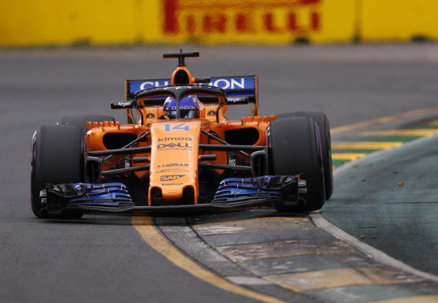 McLaren driver Fernando Alonso of Spain turns in a corner during qualifying at the Australian Formula One Grand Prix in Melbourne, Saturday, March 24, 2018. Mercedes driver Lewis Hamilton of Britain has poll while Alonso is 11th on the start grid for Sunday's race. (AP Photo/Asanka Brendon Ratnayake)