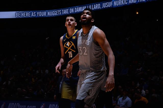 "As <a class=""link rapid-noclick-resp"" href=""/nba/players/5352/"" data-ylk=""slk:Nikola Jokic"">Nikola Jokic</a> (left) and <a class=""link rapid-noclick-resp"" href=""/nba/players/5432/"" data-ylk=""slk:Karl-Anthony Towns"">Karl-Anthony Towns</a> go, so go the postseason hopes of the Nuggets and Wolves. (Getty)"