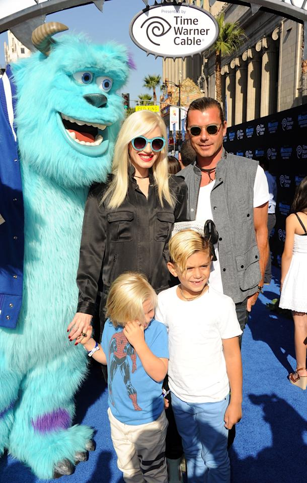 "HOLLYWOOD, CA - JUNE 17:  (L-R) Gwen Stefani, Gavin Rossdale and sons Zuma and Kingston Rossdale attend the world premiere of Disney Pixar's ""Monsters University"" at the El Capitan Theatre on June 17, 2013 in Hollywood, California.  (Photo by Kevin Winter/Getty Images)"