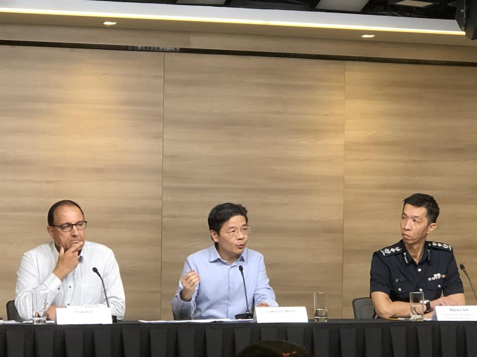 (L-R) Communications and Information Minister S Iswaran, National Development Minister Lawrence Wong and Immigration and Checkpoints Authority Commissioner Marvin Sim addressing reporters at a media briefing on the Wuhan virus on Friday, 31 January 2020. PHOTO: Nicholas Yong/Yahoo News Singapore