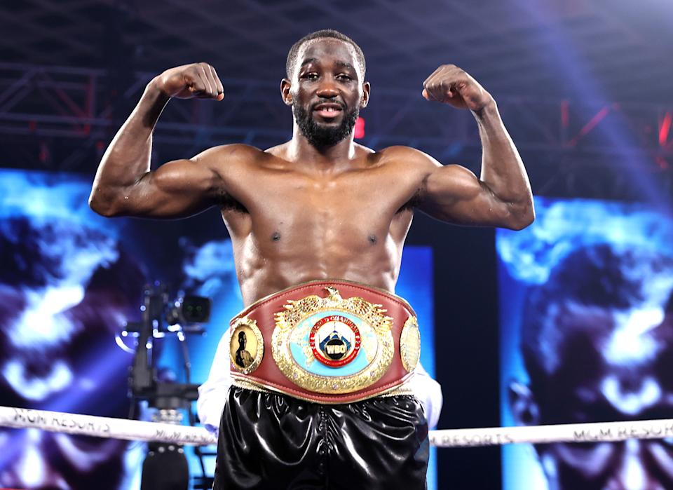 LAS VEGAS, NV - NOVEMBER 14: Terence Crawford is victorious against Kell Brook for the WBO welterweight title at the MGM Grand Conference Center on November 14, 2020 in Las Vegas, Nevada. (Photo by Mikey Williams/Top Rank Inc via Getty Images)