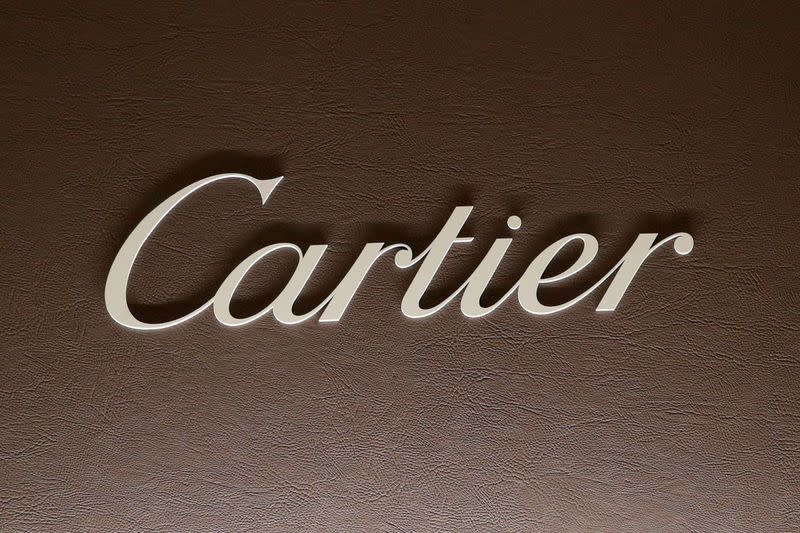 FILE PHOTO: The logo of Cartier is pictured at the SIHH watch fair in Geneva