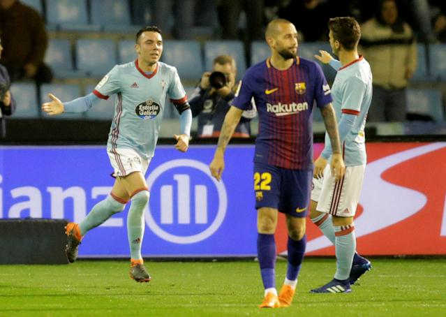 Soccer Football - La Liga Santander - Celta Vigo vs FC Barcelona - Balaidos, Vigo, Spain - April 17, 2018 Celta Vigo's Iago Aspas celebrates scoring their second goal REUTERS/Miguel Vidal