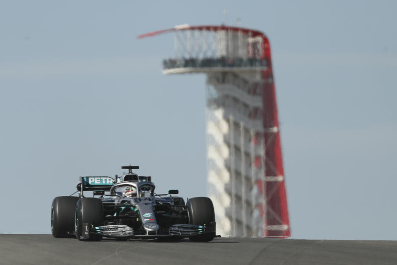 Mercedes driver Lewis Hamilton, of Britain, steers his car during the first practice session for the Formula One U.S. Grand Prix auto race at the Circuit of the Americas, Friday, Nov. 1, 2019, in Austin, Texas. (AP Photo/Eric Gay)