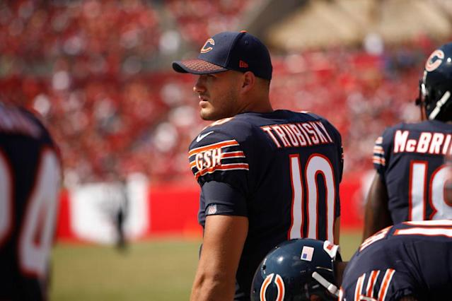 Mitchell Trubisky has spent the first two games of the Bears season on the sideline. (Getty)