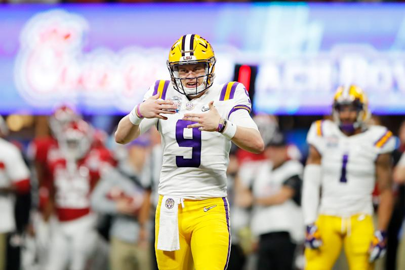 LSU quarterback Joe Burrow celebrates a touchdown against the Oklahoma Sooners during on Dec. 28. (Todd Kirkland/Getty Images)
