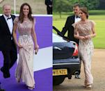 <p>The Duchess of Cambridge debuted this shimmering pink Jenny Packham gown in June 2011 for the ARK 10th Anniversary Gala Dinner. She later brought the romantic look back to attend a gala dinner in support of East Anglia's Children's Hospices' Nook Appeal in June 2016. </p>
