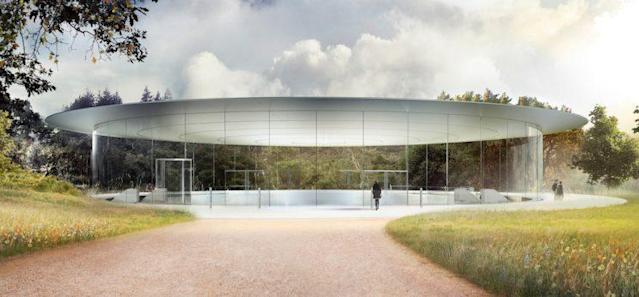 The Steve Jobs theater is a 20-foot-tall glass cylinder covered by a carbon-fiber roof that seats up to 1,000 people. Source: Apple