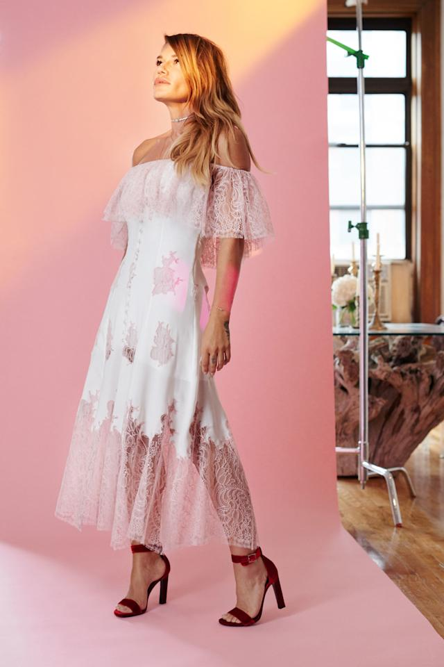"""<p>Last summer's off-the-shoulder trend has made its way into bridal style. In fact, brides are searching for off-the-shoulder wedding dresses 158% more on Pinterest this year than last.</p><p><a rel=""""nofollow"""" href=""""http://www.harpersbazaar.com/wedding/bridal-fashion/g7987/houghton-fall-2017-bridal/?""""><strong><em>See More of  Houghton's Fall 2017 Bridal Collection</em></strong></a></p>"""