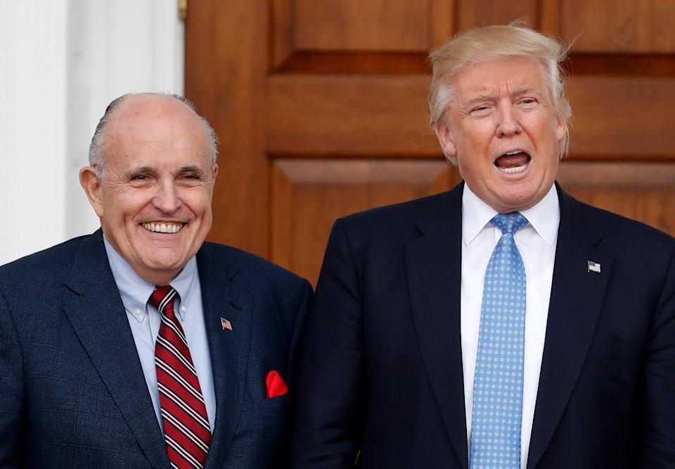 President Donald Trump and attorney Rudy Giuliani accuse social media giants of favoring Joe Biden and making decisions out of a long-standing bias against conservatives.