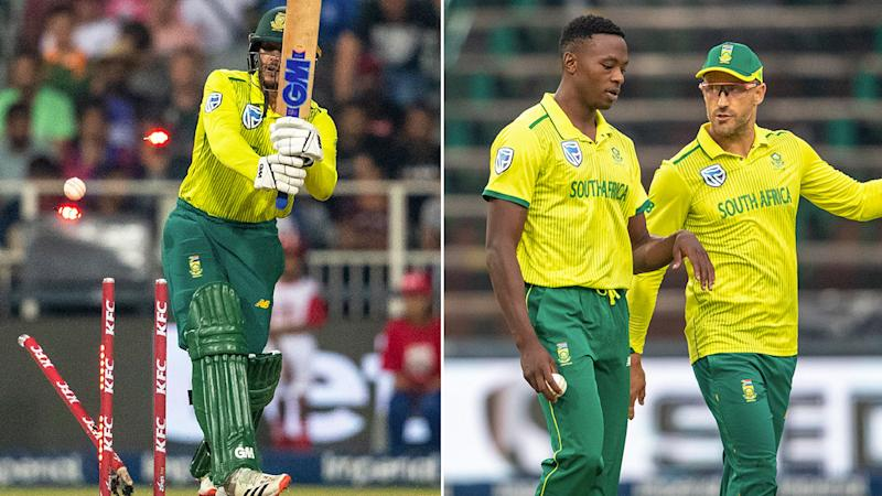 Seen here, South Africa's players came under immense criticism after the big T20 loss to Australia.