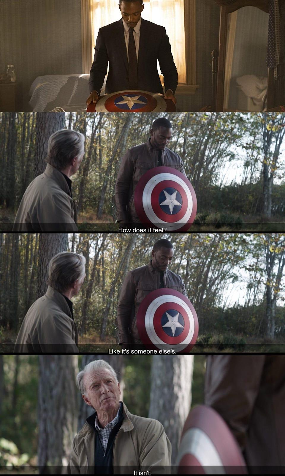 the falcon and the winter solider 101 detail sam cap endgame callback