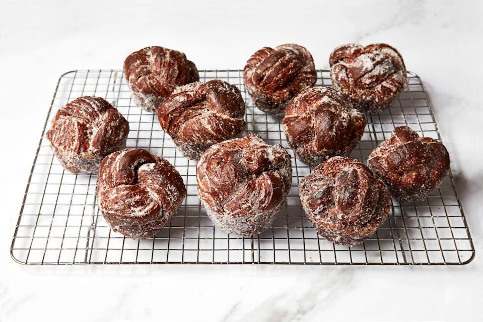 """Within hours of this recipe's debut, Epi contributor Bill Clark's morning buns started popping up on Instagram. <a href=""""https://www.epicurious.com/recipes-menus/how-to-make-cocoa-brioche-morning-buns-article?mbid=synd_yahoo_rss"""" rel=""""nofollow noopener"""" target=""""_blank"""" data-ylk=""""slk:Here are some extra tips"""" class=""""link rapid-noclick-resp"""">Here are some extra tips</a> to get you started—these are the perfect weekend baking project. <a href=""""https://www.epicurious.com/recipes/food/views/cocoa-brioche-morning-buns?mbid=synd_yahoo_rss"""" rel=""""nofollow noopener"""" target=""""_blank"""" data-ylk=""""slk:See recipe."""" class=""""link rapid-noclick-resp"""">See recipe.</a>"""