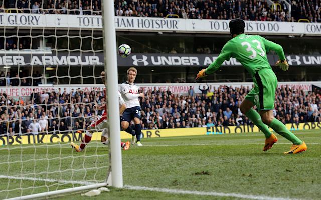 <span>Eriksen clips the top of the bar with his volley</span> <span>Credit: TGSPhoto/REX/Shutterstock </span>