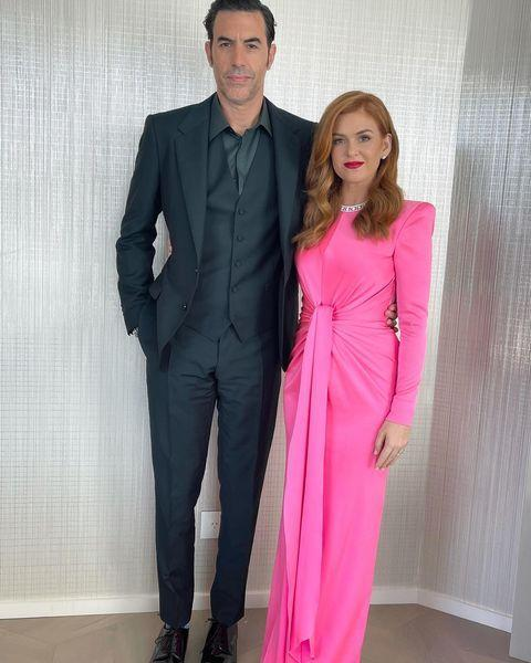 """<p>Proud partner Isla Fisher posed in a hot pink Alex Perry gown with her multi-Golden Globe winning husband Sacha Baron Cohen ahead of the ceremony. </p><p><a href=""""https://www.instagram.com/p/CL20P0GAC-D/"""" rel=""""nofollow noopener"""" target=""""_blank"""" data-ylk=""""slk:See the original post on Instagram"""" class=""""link rapid-noclick-resp"""">See the original post on Instagram</a></p>"""