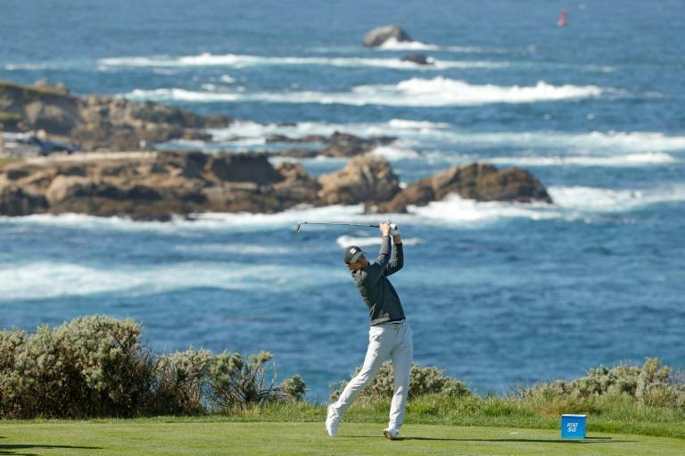 American Jordan Spieth on the way to a second-round 67 at Spyglass Hill and the halfway lead in the US PGA Tour Pebble Beach Pro-Am