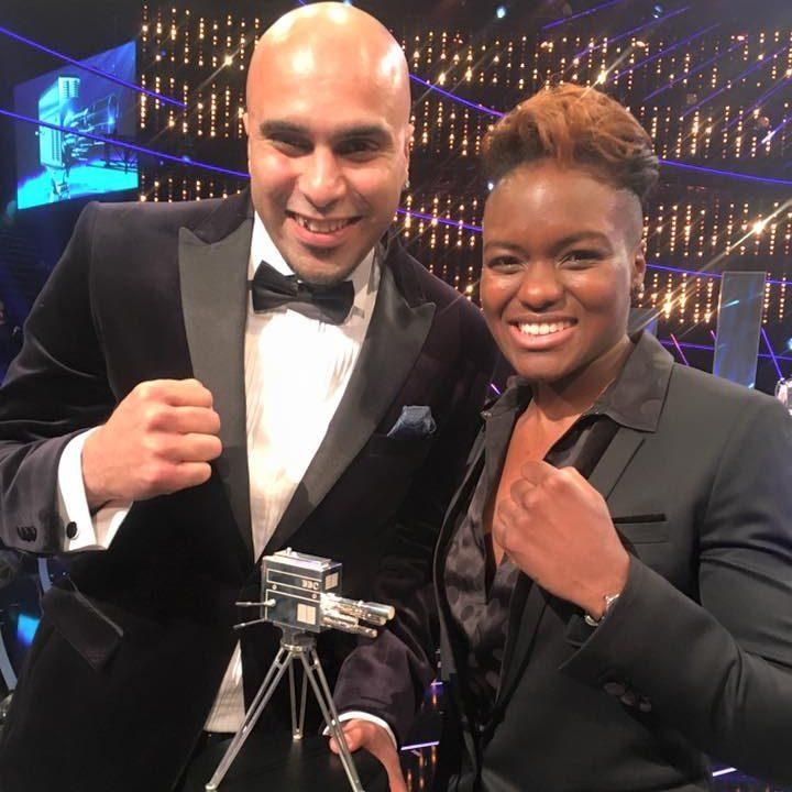 Marcellus Baz celebrating his award with boxer Nicola Adams - Credit: Social Media Internet