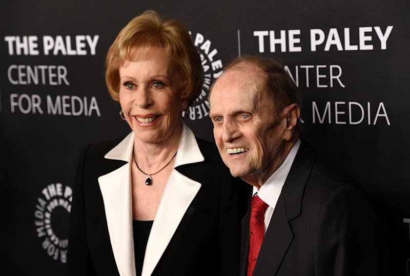 Carol Burnett, left, and Bob Newhart, whose shows were part of a legendary CBS Saturday comedy lineup in the 1970s, received tributes at a Paley Honors event Thursday celebrating legends of TV comedy.