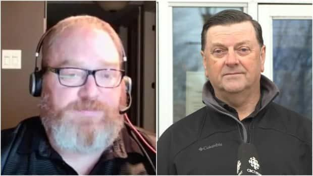 Both Ian Thomson, left, and Percy Farwell say they're happy to hear of Nav Canada's decision to reverse job cuts for air traffic controllers in Gander.