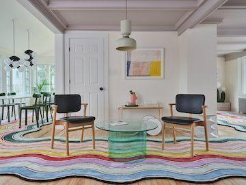 """<p>Outside, this may appear to be a traditional 1878 house, but inside, it's a postmodern (and Instagram!) fantasy. The escape, located in a historic Maine shipbuilding town, is the brainchild of Brooklyn-based branding agency An Aesthetic Pursuit, whose founders, the husband-and-wife duo Jenny Kaplan and Chris Corrado with their friend Taisha Coomb, tricked out the interiors in a madcap assortment of furniture from their home line, Pieces. This four-bedroom, two bathroom home makes the perfect escape for a family or a group of pals, with plenty of outdoor space, a firepit, and a grill. We dig the ombré stairs, the rainbow-striped rug, and the sherbet-colored sleeping quarters. Like what you see? Everything here is for sale.</p><p><a class=""""link rapid-noclick-resp"""" href=""""https://www.airbnb.com/rooms/40567990"""" rel=""""nofollow noopener"""" target=""""_blank"""" data-ylk=""""slk:Book Now"""">Book Now</a></p>"""