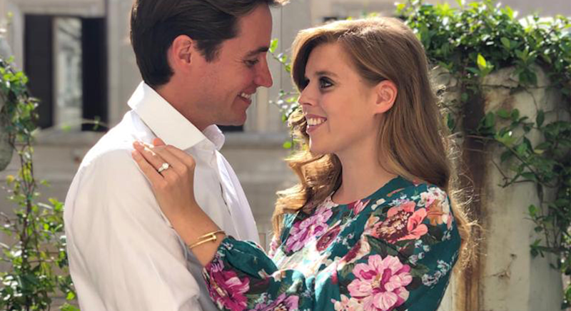 Princess Beatrice wore a Zimmerman dress to announce her engagement [Photo: PA]