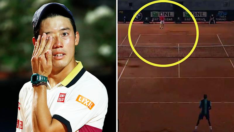 Kei Nishikori (pictured left) frustrated during his match and Gael Monfils in a rally at the Italian Open (pictured right) when the lights went out during play.