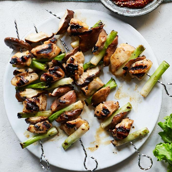 <p>Skewers are a popular Korean street food. The easy marinade in this healthy chicken recipe adds flavor, fast, to chicken thigh pieces. Serve as a platter for a party or as main dish with brown rice.</p>