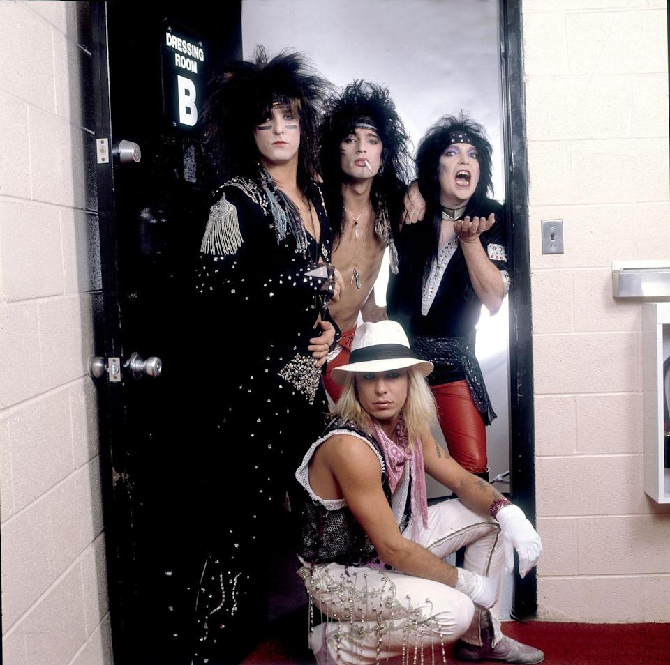 <p>Mötley Crüe posing backstage at the Rosemont Horizon in Illinois before taking the stage. </p>