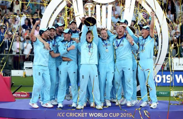 England celebrate winning the ICC World Cup (Nick Potts/PA)