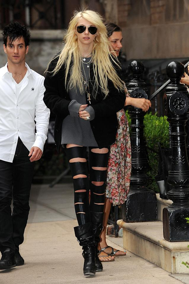 "Speaking of fashion disasters, ""Gossip Girl"" Taylor Momsen decided to embarrass herself yet again on the streets of NYC in putrid peekaboo pants. Doug Meszler/<a href=""http://www.splashnewsonline.com"" target=""new"">Splash News</a> - September 10, 2009"