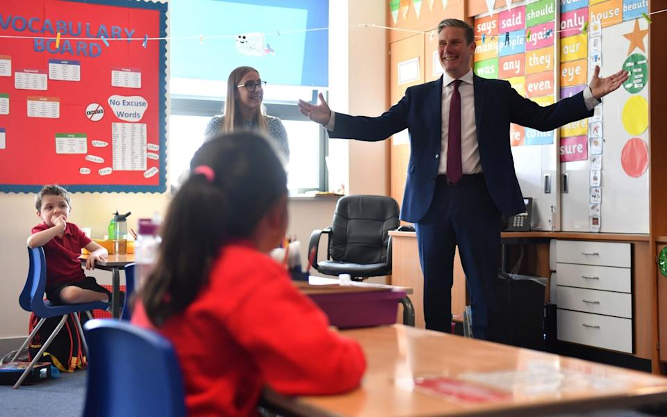 Labour Party leader Keir Starmer during a visit to Whitmore Park Primary School in Coventry - Jacob King/PA Wire