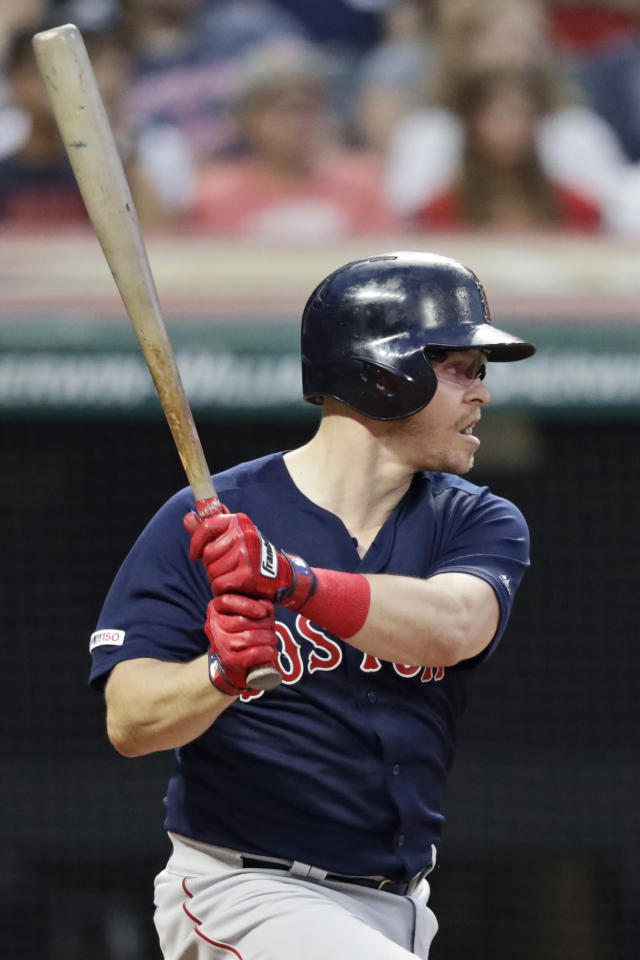 Boston Red Sox's Brock Holt watches his one-run double in the fourth inning of a baseball game against the Cleveland Indians, Monday, Aug. 12, 2019, in Cleveland. (AP Photo/Tony Dejak)