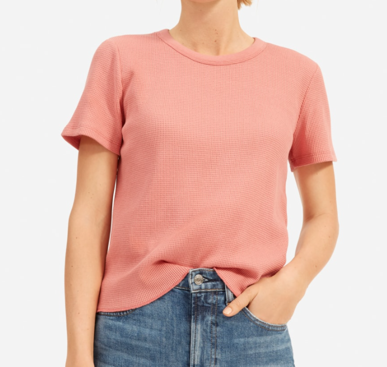 Everlane Women's Short-Sleeve Waffle Crew in Rose Blossom