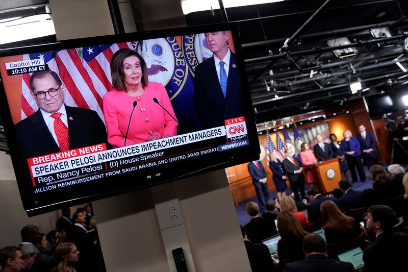 U.S. House Speaker Nancy Pelosi (D-CA) announces the House of Representatives managers for the Senate impeachment trial of U.S. President Donald Trump during a news conference at the U.S. Capitol in Washington
