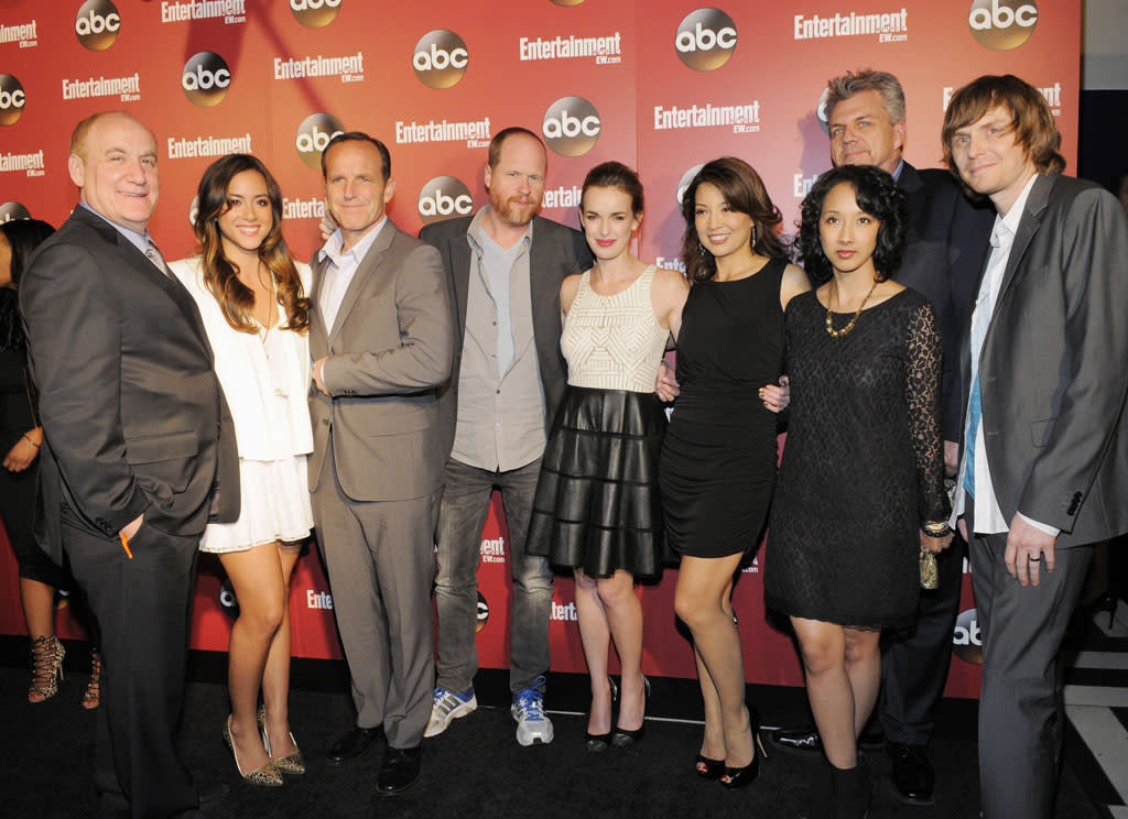 "Jeph Loeb, Chloe Bennet, Clark Gregg, Joss Whedon, Elizabeth Henstridge, Ming-Na Wen, Jeffrey Bell, Maurissa Tancharoen, and Jed Whedon (""Marvel's Agents of S.H.I.E.L.D."") attends the Entertainment Weekly & ABC 2013 New York Upfront Party at The General on May 14, 2013 in New York City."