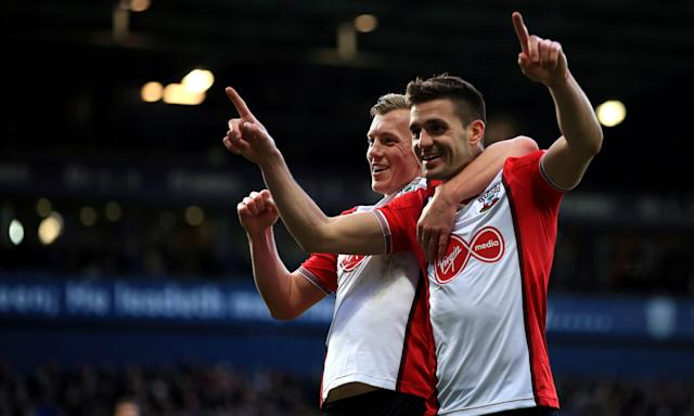 Dusan Tadic celebrates scoring Southampton's second goal against West Brom with James Ward-Prowse.