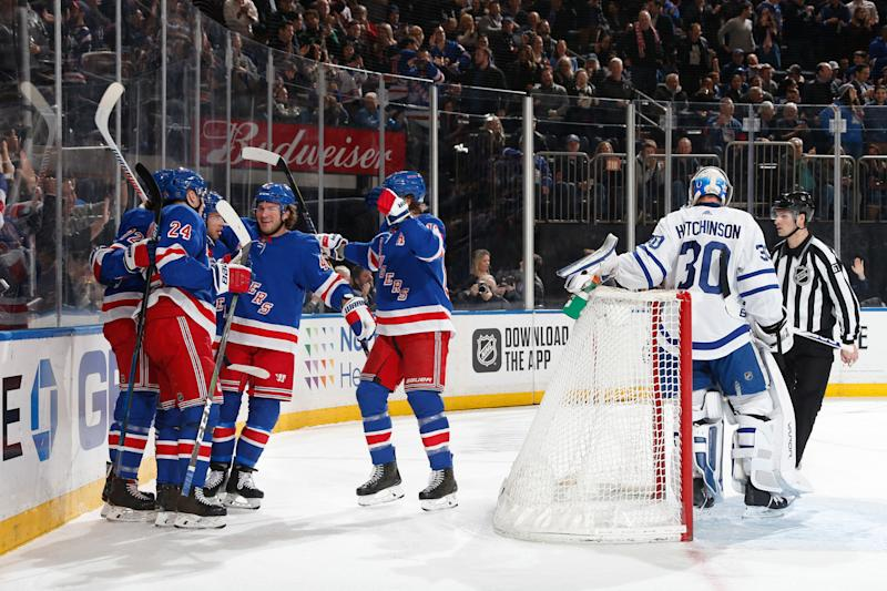 NEW YORK, NY - FEBRUARY 05: The New York Rangers celebrate a first period goal by Filip Chytil #72 against the Toronto Maple Leafs at Madison Square Garden on February 5, 2020 in New York City. (Photo by Jared Silber/NHLI via Getty Images)