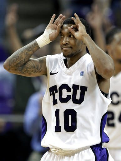 TCU's Hank Thorns (10) celebrates sinking a 3-point basket in overtime against UNLV during an NCAA college basketball game Tuesday, Feb. 14, 2012, in Fort Worth, Texas. Thorns led scoring with 32 points in the 102-97 victory over UNLV. (AP Photo/Tony Gutierrez)