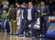 Notre Dame head coach Mike Brey stomps his feet on the sideline during the second half of an NCAA college basketball game against Syracuse on Wednesday, Jan. 22, 2020, in South Bend, Ind. Syracuse won 84-82. (AP Photo/Robert Franklin)