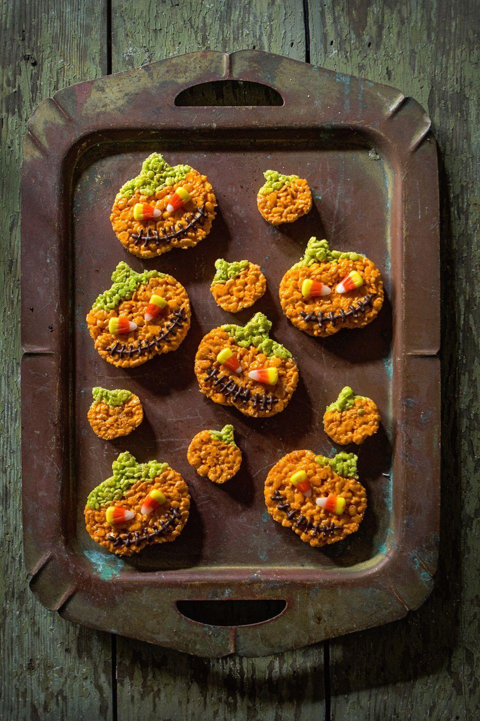 """<p>How's this for your pumpkin carving skills?</p><p>Get the recipe from <a href=""""https://www.delish.com/cooking/recipe-ideas/recipes/a43936/jack-o-lantern-rice-krispies-recipe/"""" rel=""""nofollow noopener"""" target=""""_blank"""" data-ylk=""""slk:Delish"""" class=""""link rapid-noclick-resp"""">Delish</a>.</p>"""